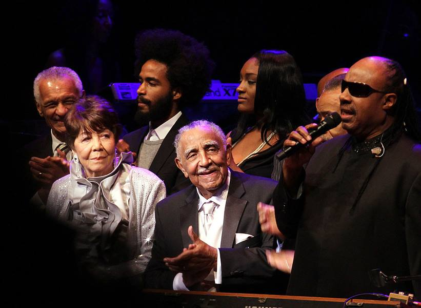 The Rev. Dr. Joseph E. Lowery's Ninety Years Birthday Celebration at the Atlanta Symphony Hall, October 9, 2011 included a birthday song by Stevie Wonder. Next to Rev. Lowery is his wife of 60 years, Evelyn Lowery. A UMNS photo by Kathleen Barry.