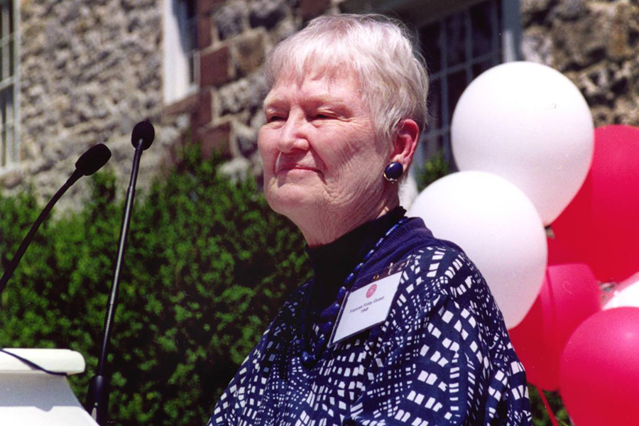 The Rev. Frances Helen Foley Guest speaks at Dickinson College in Carlisle, Pa., after receiving a distinguished alumni award in June 2002. The three and a half years she spent in a Japanese prison camp with her missionary parents helped shape her ministry. File photo by Kenneth J. Guest.