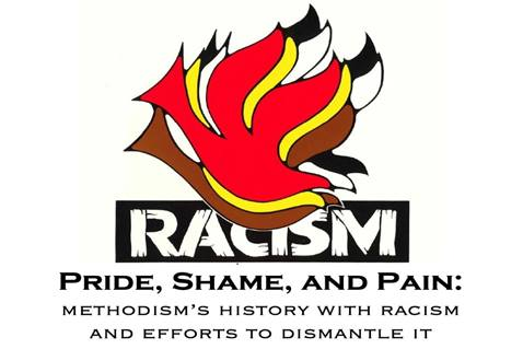 Racism logo borrowed from the General Commission on Religion and Race. Kelly Fitzgerald, ed. Racism: The Church's Unfinished Agenda, a Journal of the National Convocation on Racism (General Commission on Religion and Race, 1987).
