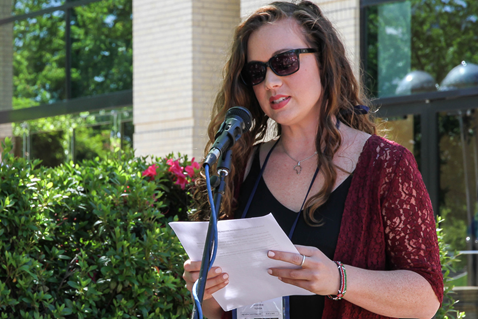 Molly McEntire speaks at an AIDS Vigil held May 11 during the United Methodist 2016 General Conference in Portland, Ore. The vigil was sponsored by the United Methodist Global AIDS Fund Committee. Photo by Maile Bradfield, UMNS.