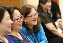 Clergywomen react to sermon during the 2018 Ohana Conference. The conference was held at Christ United Methodist Church in Honolulu, July 9-11, by the Association of Asian American and Pacific Islander Clergywomen (AAPIC) and National Association of Korean American United Methodist Clergywomen (NAKAUMC). Photo by Thomas Kim, UMNS.