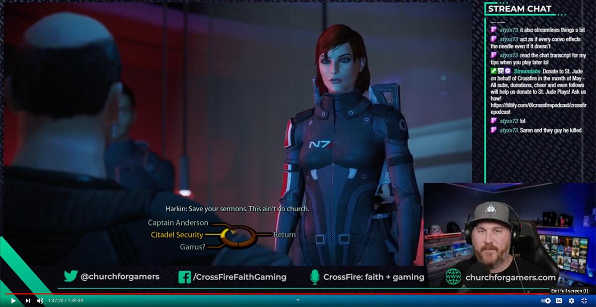 데이빗 페티 목사(오른쪽 하단)가 온라인 비디오 게임인 매스팩트(Mass Effect) 게임을 하고 있다. 콜로라도주 콜로라도스프링스에 있는 세인트폴 연합감리교회의 페티 목사는 2017년부터 게임 커뮤니티에서 사역해 왔다. 사진, 유튜브 화면 갈무리.