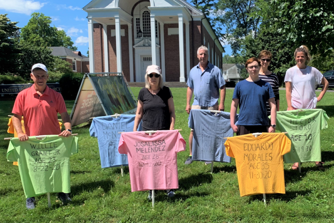 """Heeding God's Word T-shirt """"Memorial to the Lost"""" erected on the lawn of Ardmore UMC. Photo courtesy of Rev. Timothy Thomson-Hohl."""