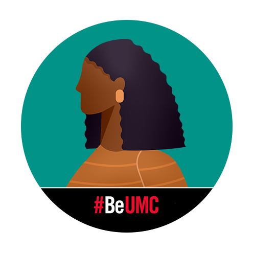 Female profile image with #BeUMC frame.