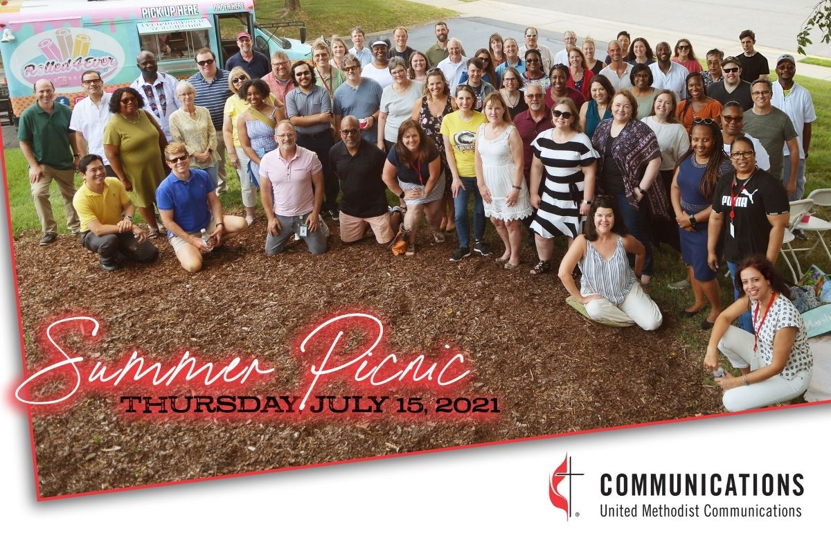 The United Methodist Communications staff gathered for a group shot at the agency picnic. (Photo by Aaron Crisler.)