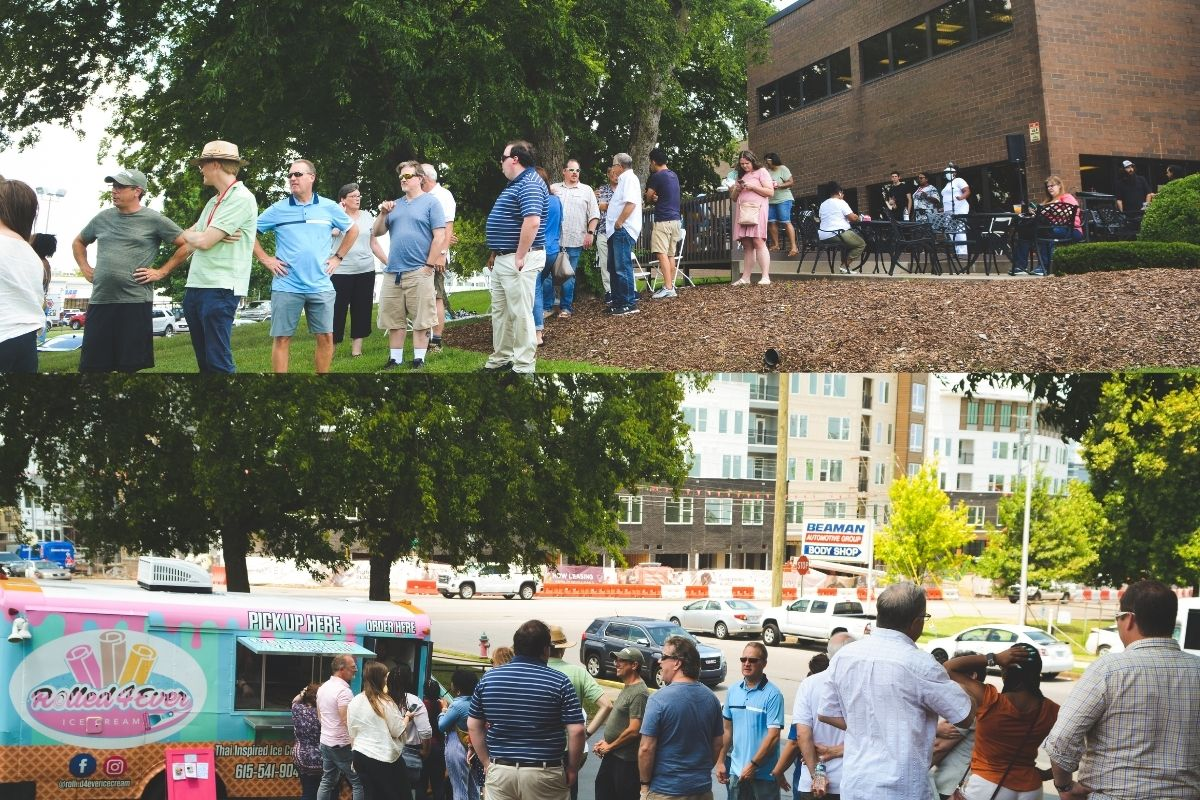 Staff hang outside and lined up to select their ice cream treat of choice. (Photos by Aaron Crisler.)