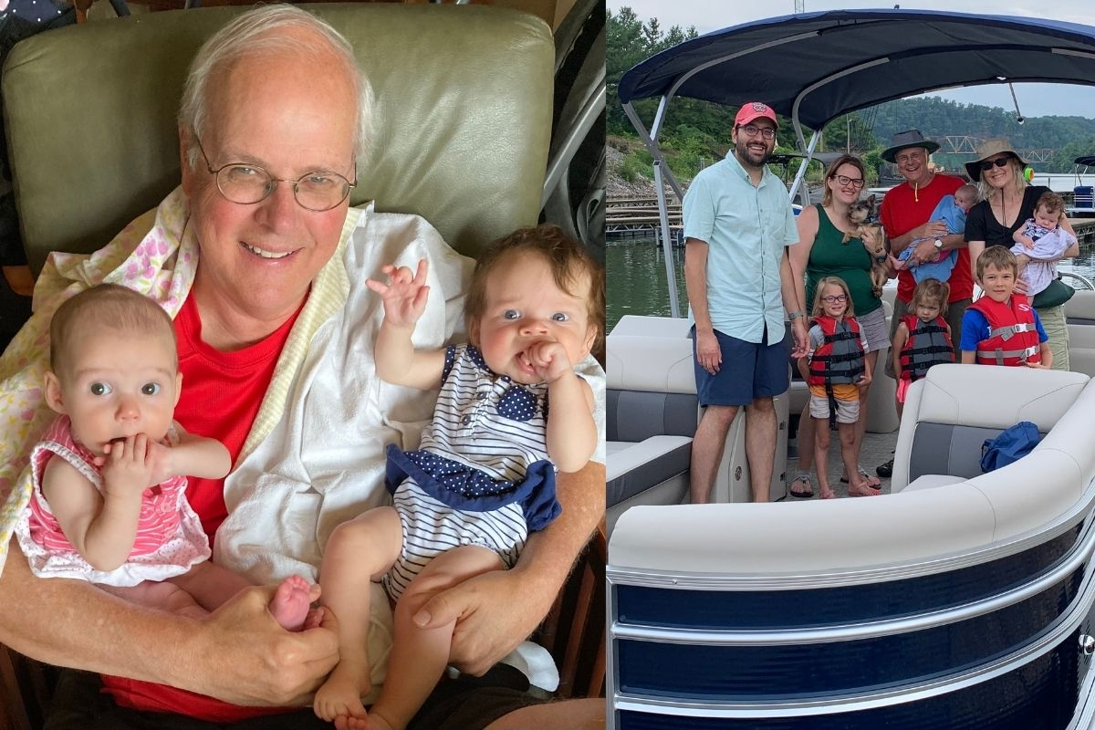 Dan Hoag's daughter and son-in-law, Beth & Tim Walker, added their second set of twin girls to their family on March 11th. Pictured with Grampa are Maggie (left) and Catie (right).  Also pictured making memories on the Tennessee River are the whole Knoxville crew now with five children under the age of six!  (Pictured Left to Right; Front Row: Tim, Abby, Annie, James. Back Row: Beth, Captain, Dan, Maggie, Becky, and Catie.) Photos provided by Dan Hoag.