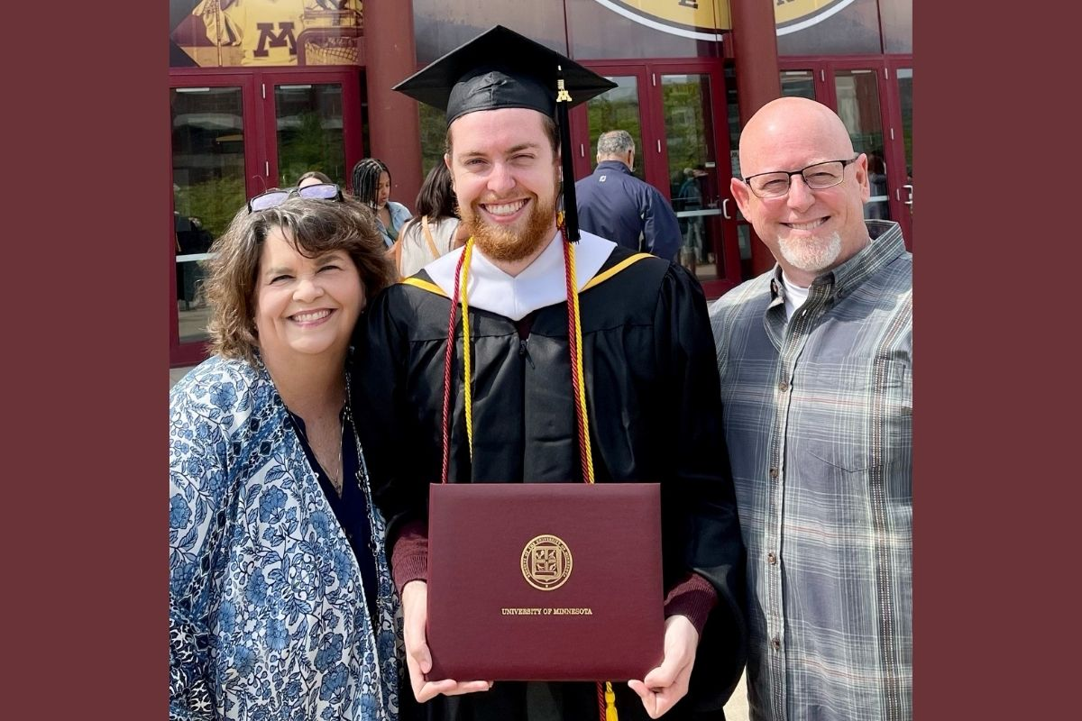 Stacey Hagewood's son Sam, 24, graduated with a Master of Arts in Human Resources and Industrial Relations from The University of Minnesota in Minneapolis. He began a job with PepsiCo this month. Pictured l-r: Stacey, Sam and Stacey's husband Greg (Photo provided by Stacey Hagewood.)