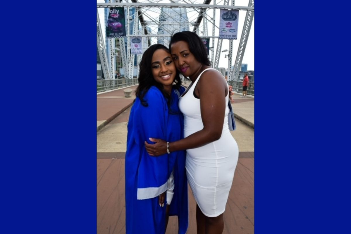 Kashe' Harris celebrated her daughter De'Nerra Waters who graduated from Martin Luther King Jr. Magnet High School. Pictured l-r : De'Nerra, Kashe'. (Photo provided by  Kashe Harris.)