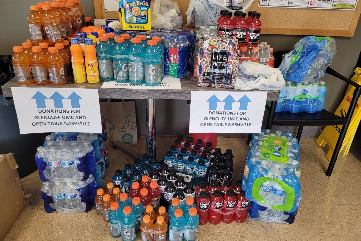 During the event, tuna and chicken salad kits, Gatorade, Powerade, water and sunscreen were collected to assist homeless communities during the summer heat. (Photo by Brenda Smotherman.)