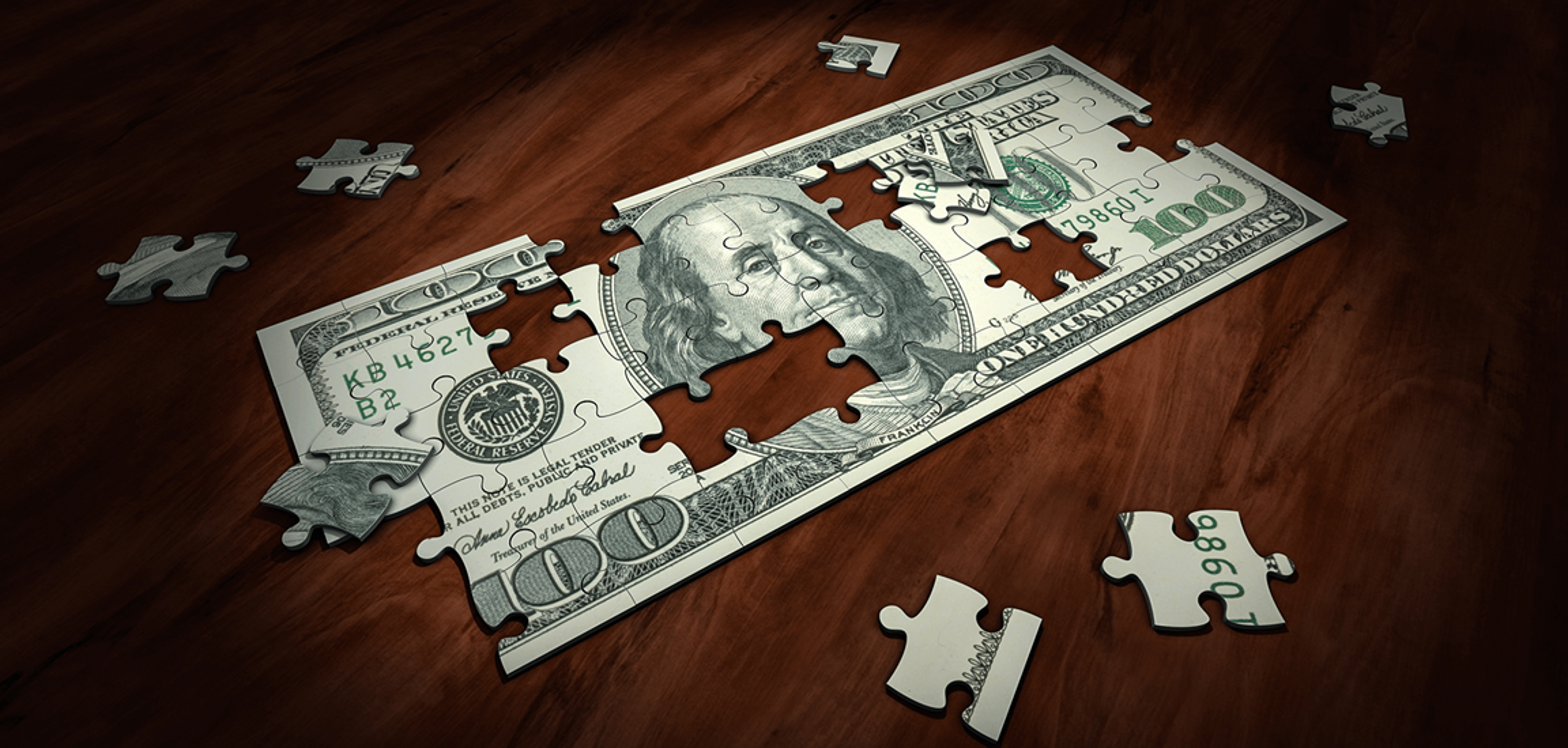 Puzzle of a hundred dollar bill. Courtesy of Arek Socha from Pixabay.