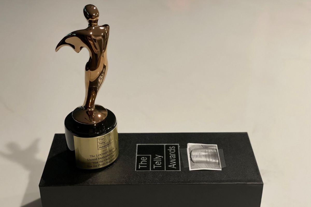 The Telly Awards trophy bestowed to United Methodist Communications. (Photo courtesy of Poonam Patodia.)