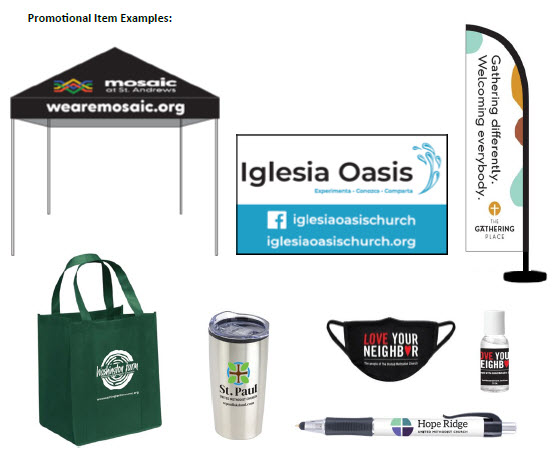 New church start promotional item examples.