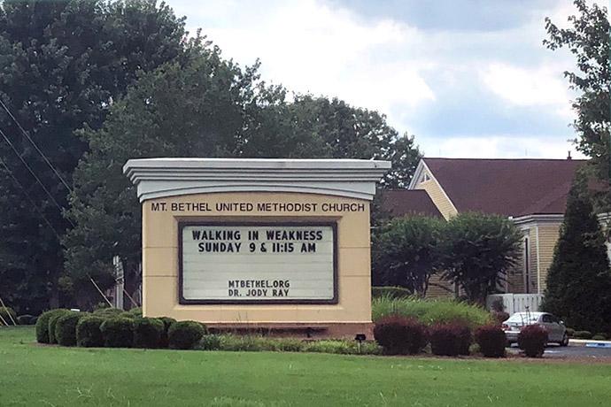 La Iglesia Metodista Unida (IMU) Mount Bethel ha presentado una contrademanda en respuesta a una demanda de los fideicomisarios de la Conferencia Anual del Norte de Georgia. La disputa legal tiene que ver con la propiedad. Foto de Wendy Parker, East Cobb News.
